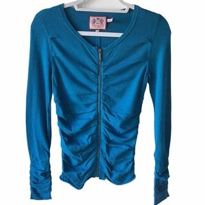 Juicy Couture Ruched Teal Zip-Up Cardigan- BNWOT
